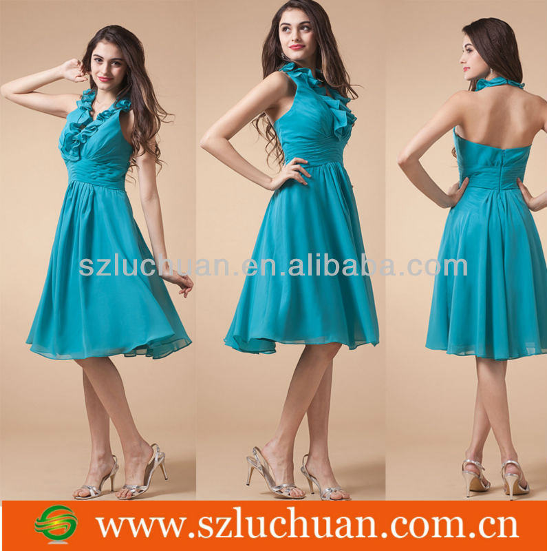 Beautiful Sleeveless Knee Length Chiffon Halter Neckline Cheap Bridesmaid Dresses