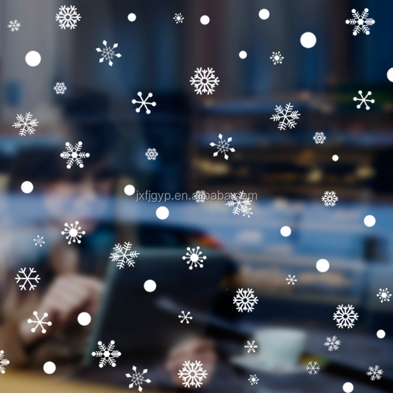 Customized removable PVC white christmas snowflake stickers for window decoration