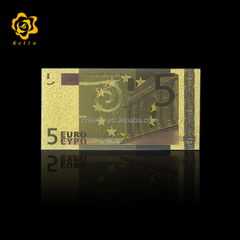 Valuable and Collectible Bank Gifts Euro 5 Banknote in 24k Gold With embossed design