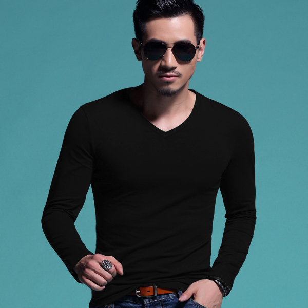 2016 Fashion Men T Shirt long Sleeve O-Neck T-shirt Cotton V-neck men's T-shirt