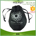 custom silkscreen non woven small Drawstring cord pocket Bag with black ribbon alibaba trade assurance