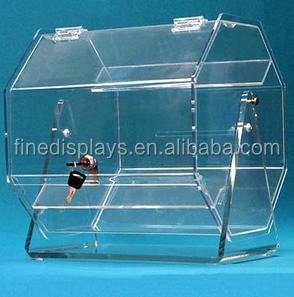 Acrylic Raffle Drawing Rotators donation box with lock