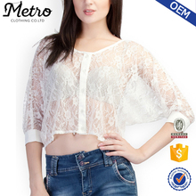 Ladies White Sexy Button Front Lace Crop Tops and Blouses