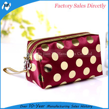 2017 new ladies promotional red satin cosmetic bag