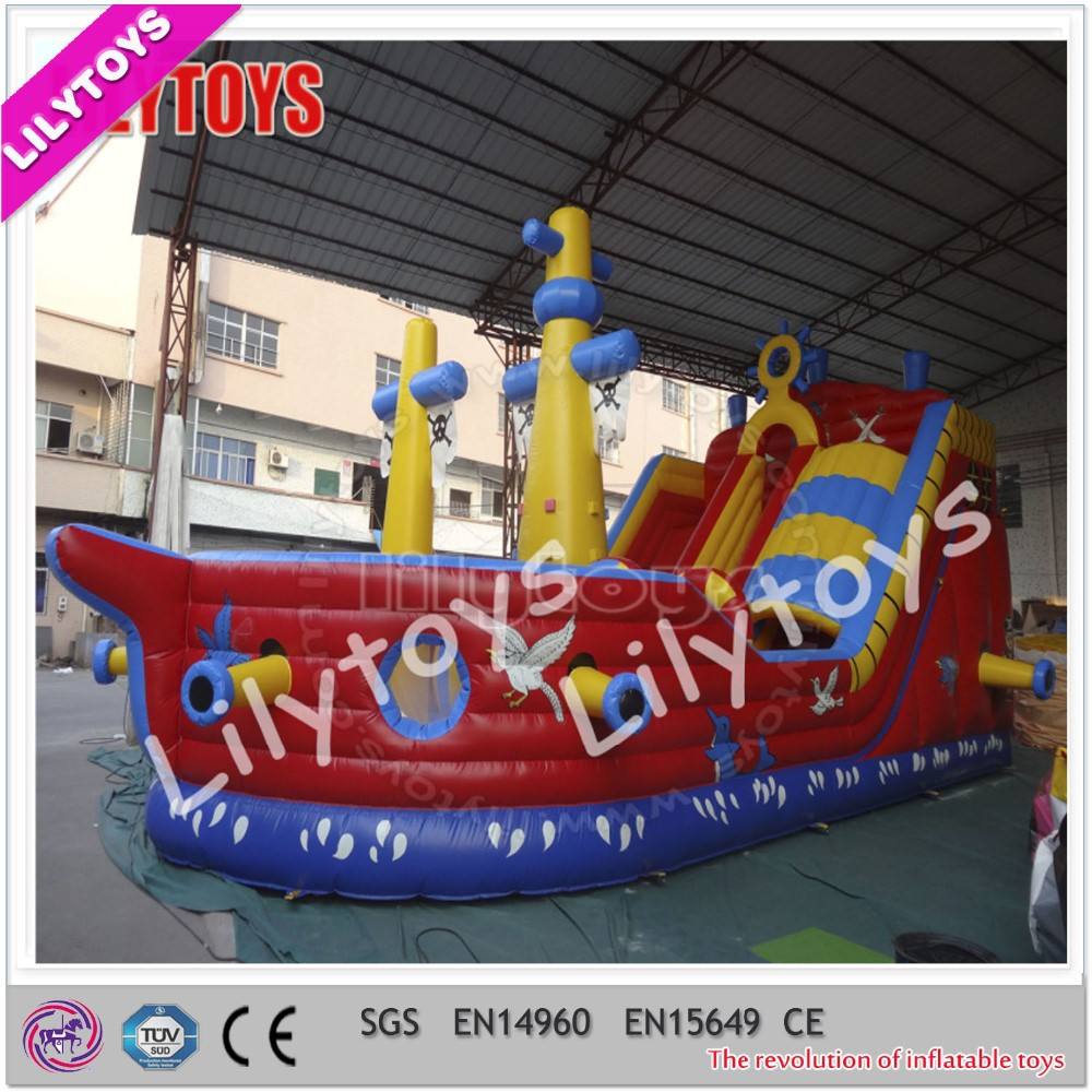 Pirate Ship theme Giant inflatable dry slide / inflatable Pirate Ship for kids