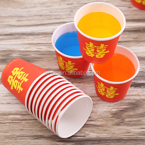 disposable red double happiness paper cup for celebration 6oz