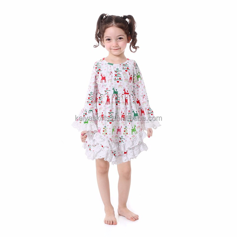 Latest girl Christmas cotton dresses kids clothing children frocks designs