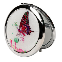 Cheap round butterfly metal compact cosmetic mirror