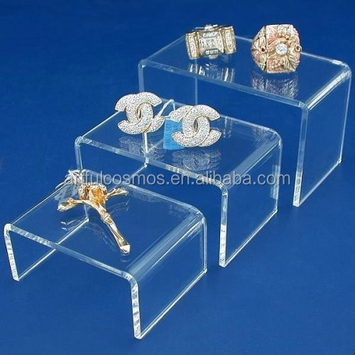 tailor make acrylic riser display stand for retail shop