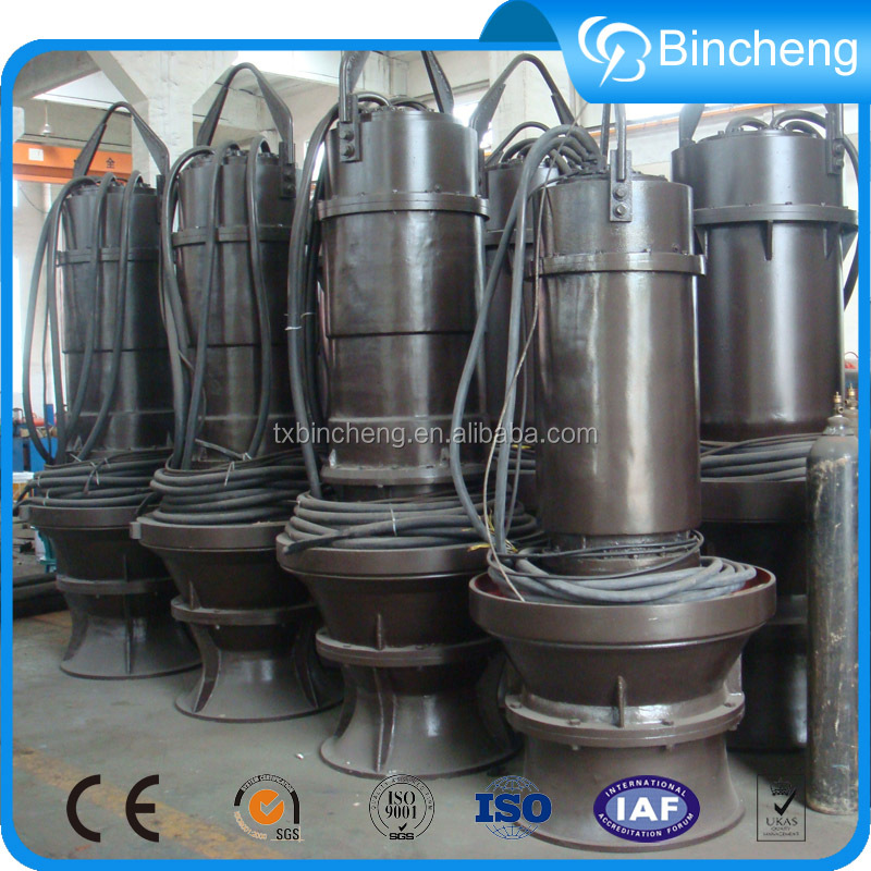 Submersible vertical axial flow pumps