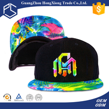 Design your own tie dyed 3d embroidery short brim snapback hat