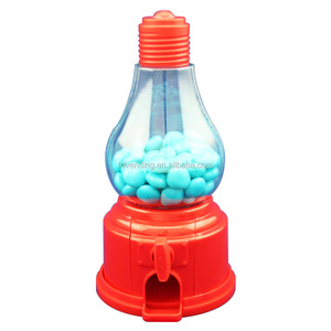 Light Bulb top shape plastic candy dispenser also as coin bank. Square base.