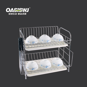 hot sell 2 tiers Stainless Steel Multi-function Kitchen Dish Rack And Plate Shelf.