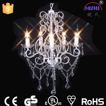hot selling clear,white color CE&UL crystal chandelier modern 5 light chandelier for wedding/living room decoration NS-120127