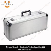 fashion design hard packaging box china made cheap silver aluminum case with custom foam
