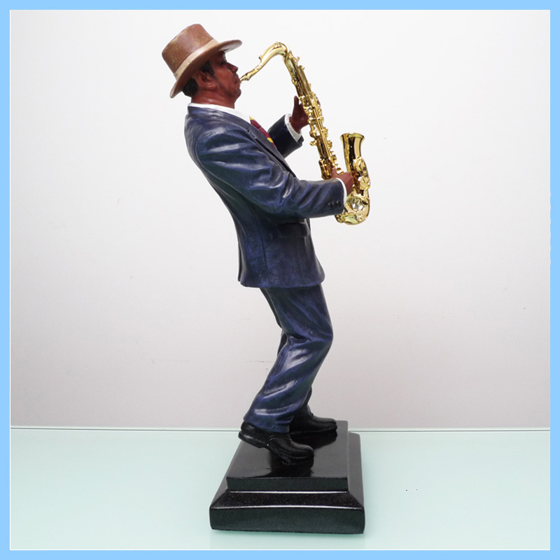 Hot selling The suit black man playing the saxophone figure statue