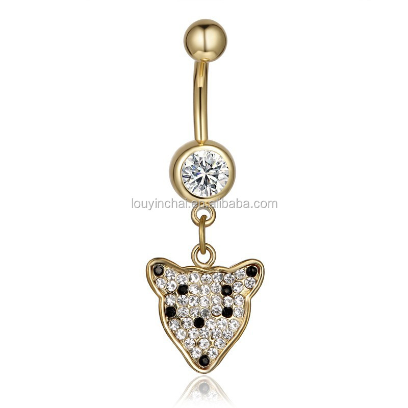 Hot sale 316L stainless steel fox racing belly button ring