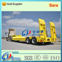 40-50 tons 2 axles low bed semi truck trailer with hydraulic ramp (Lowboy trailer) for sale