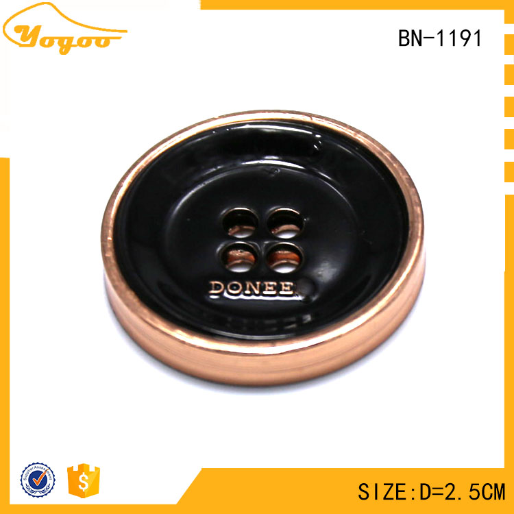 Custom Logo Round Plating Engraved Zinc Alloy Sewing Metal Garment Button