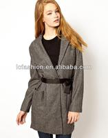 Ladies Show Body Picture Outdoor Jacket with Pockets and Tie Belt
