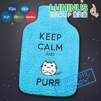 embroidery animal frag warm natural rubber hot water bottle with cover