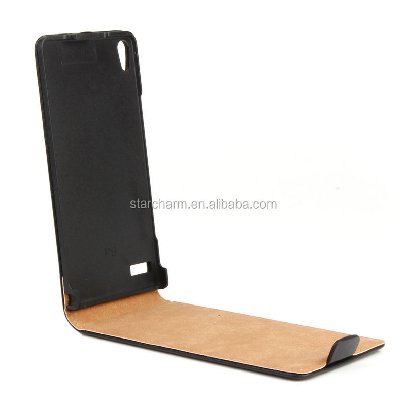Alibaba Express Hot Products for Huawei Ascend P6 Flip Leather Case,Top Quality Real Leather Case