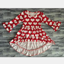 Baby girls new hi-low ruffles frocks top spring hearts fashion Valentine Dress For Girls