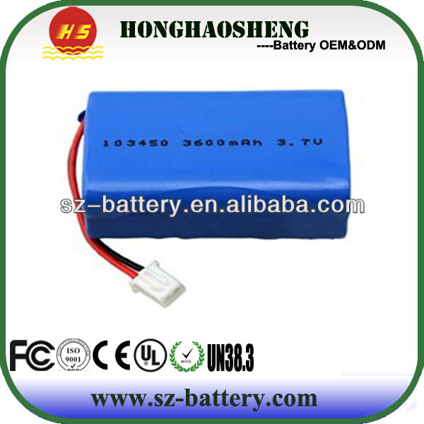lithium polymer 3.7v 3600mah battery 103450*2 with pcm and wire