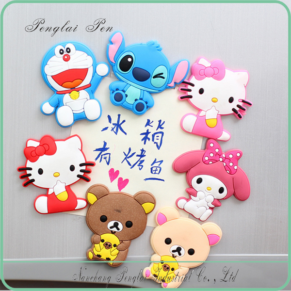creative rubber fridge magnet wholesales/cheap rubber refrigerator sticker for family/cartoon rubber fridge magnet stick