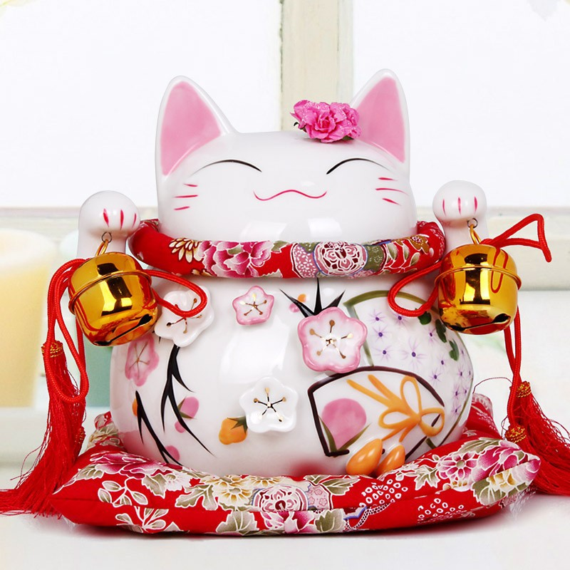 Pink lucky cat for home decorations and wedding gifts for Cat decorations home