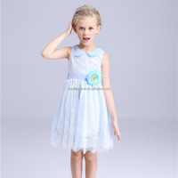 child girl summer dress 2016 gauze collar design beautiful simple design girls frock for 7 year old