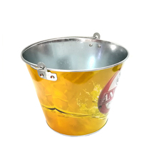 Newest Metal beer bucket ice barrel decoration pail With Attractive printing