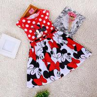 Short Sleeve Children Dress Cartoon Mouse Cotton Kids Dresses For Girls For Christmas New Year Clothes