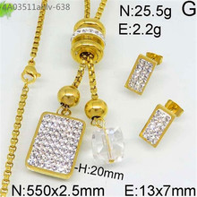 Fashion style wholesale gold color joyas de acero inoxidable stainless steel jewelry set