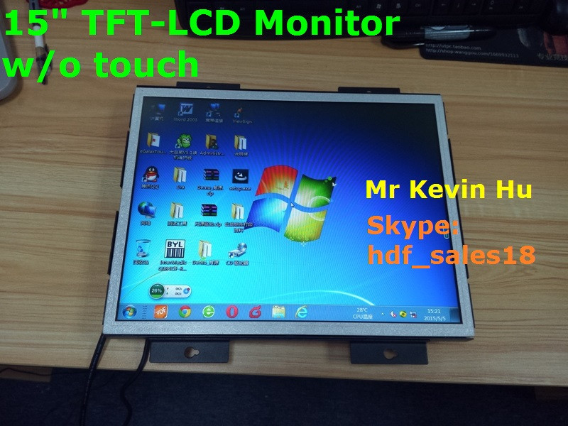 touch option, open frame 15 inch industrial lcd monitor for atm, kiosk and medical