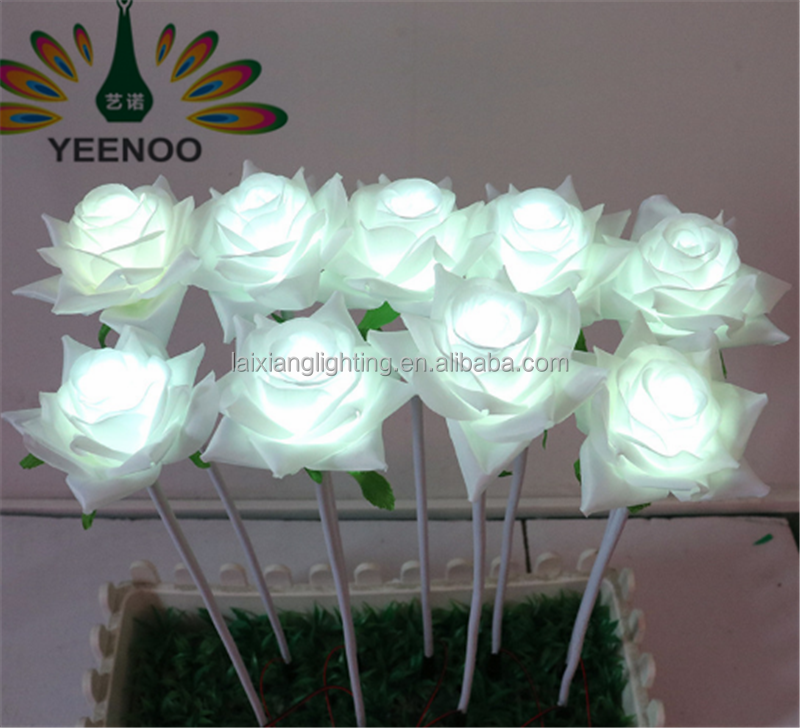 2017 New product LED fancy white rose flower lights,artificial flowers for wedding decoration stand