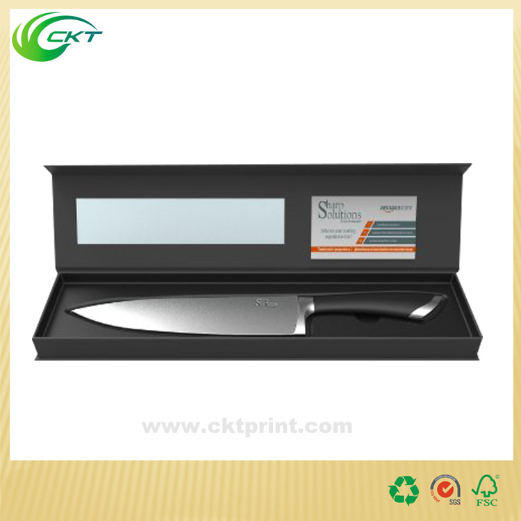 Paper cheap pvc window knife sets packaging box with lid
