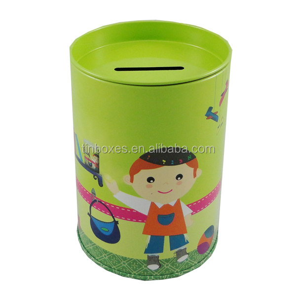 Decorative packaging round metal coin banks metal tin box OEM