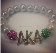 AKA letter charms bangle bracelet pink and green pave crystal bead bracelet