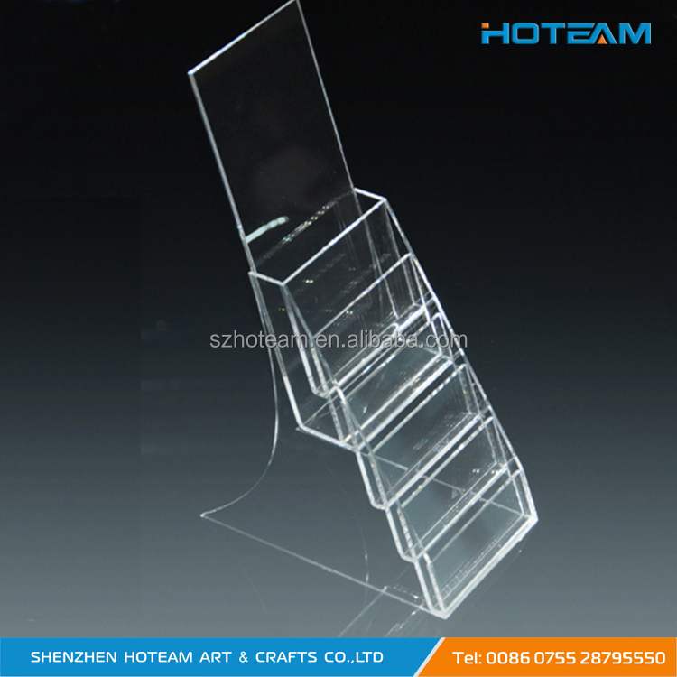 6 Pockets Brochure Acylic Display Stand Plexi Pamphlet Rack