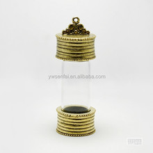 China wholesale market custom design zinc alloy antique gold plated glass vial pendant for necklace