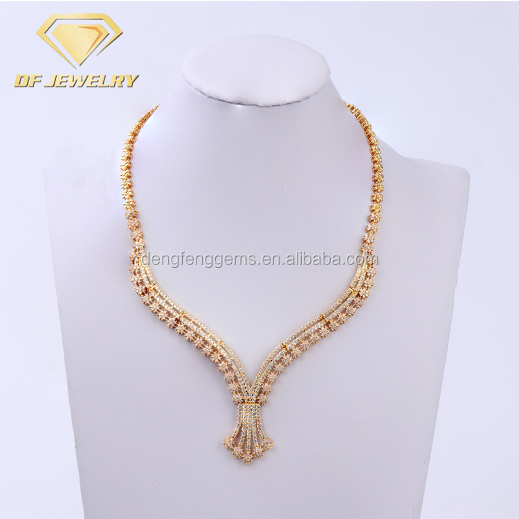 Cheap CZ Stone Lariat Necklaces Jewelry Set Fashion Costume Gold Plated Jewelry Sets