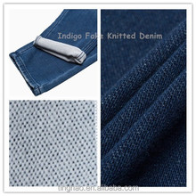 hot sale Indigo Ribbed Twill Knitted Denim Fabric for jackets