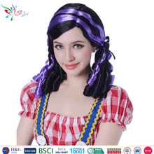 Styler Brand halloween party anime girl wigs two tone color full ponytail cheap colorful party wig