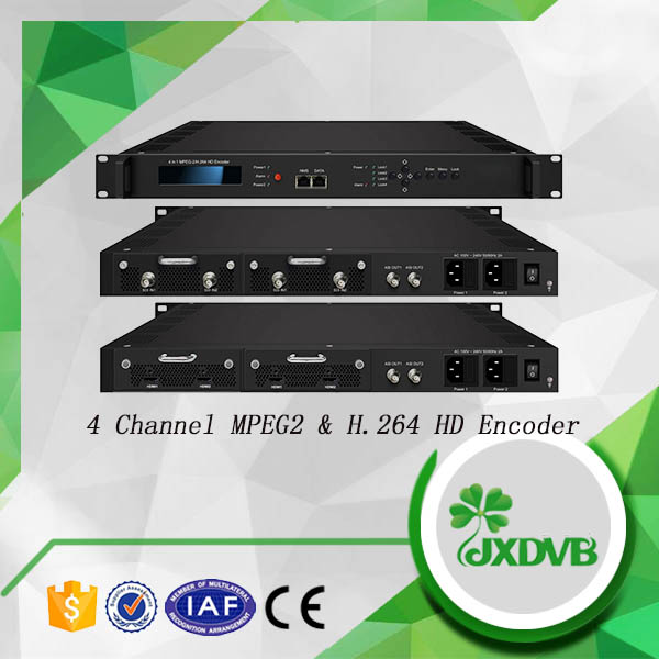 Redundancy Power Supply MPEG 4/MPEG 2 4 Channels H.264 Encoder with DD 2.0