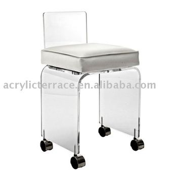 Small acrylic vanity stool with wheels buy acrylic stool acrylic furniture acrylic bar stool - Vanity stool with wheels ...
