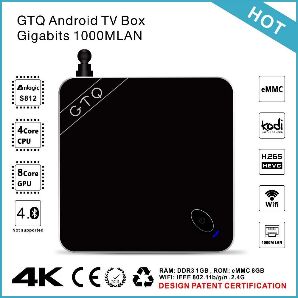 Hot Selling Original amlogic Full HD 1080P Porn Video XBMC Streaming TV Box GTQ 4.4 Android TV support 4k and H.265