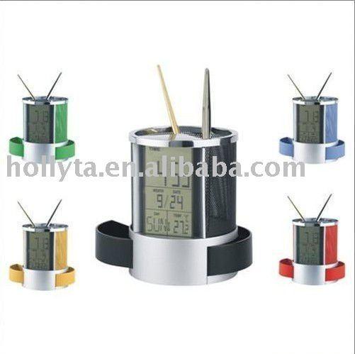 penholder for promotional gifts Multifunction calendar brush barrel with clock penholder with drawer
