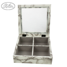 Accept Custom Order Wooden Marble Decal Necklace BraceletJewelry Storage Box With Glass Lids