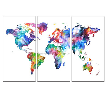 "Colorful Map Watercolor Painting Canvas Art Prints Modern Office Study Room Decoration(12""x24"") Wholesale Ready to Hang"